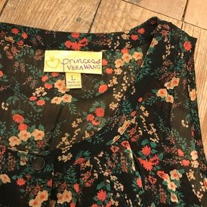 Floral sheer ruffle blouse black large